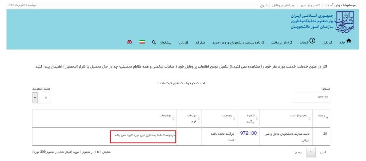 تایید درخواست متقاضی