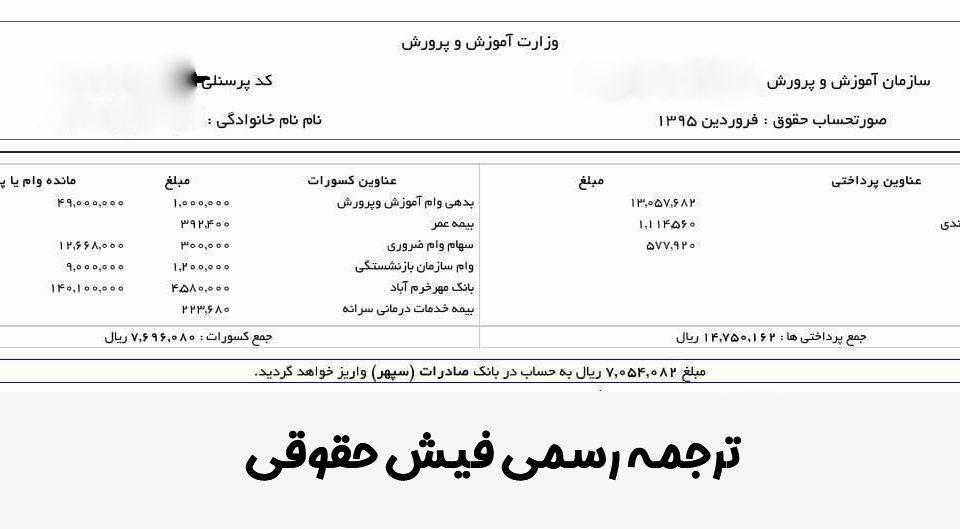 ترجمه رسمی فیش حقوقی
